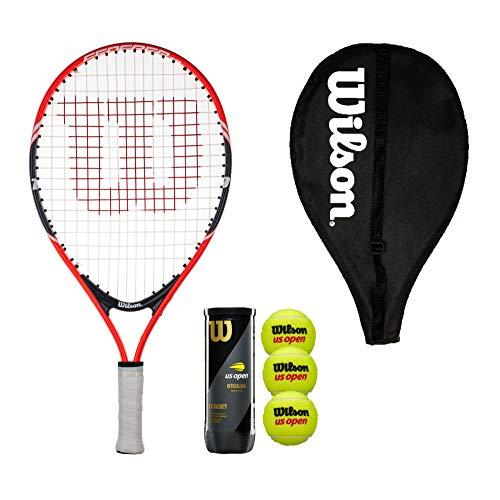 Wilson Federer 19 Junior - Raqueta de tenis con cubierta y 3 pelotas de tenis