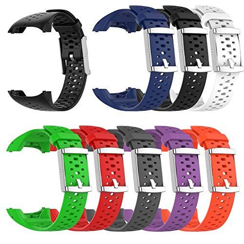 Stecto Silicona Correa Reloj con Hebilla de Acero Inoxidable, Liberación Rápida, Pulseras de Repuesto para smartwatches, Compatible con Polar M400 / M430, Unisex