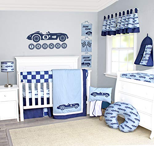 Pam Grace Creations 10 Piece Race Car Crib Bedding Set, Blue (BDNB-10-Cars)