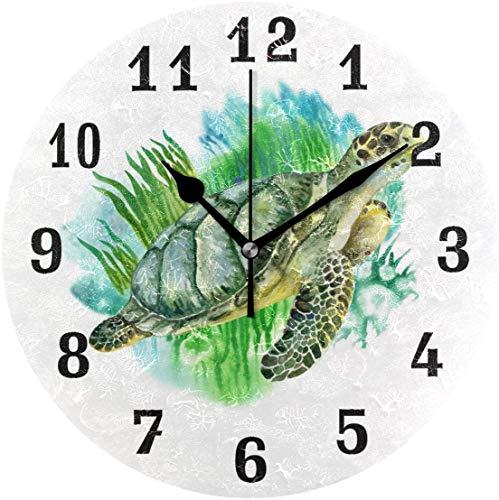 Butty Reloj de Pared Redondo silencioso Personalizado Que no Hace tictac Fácil de Colgar 10 Pulgadas Tortuga de Animales Marinos Acuarela Decoración para el hogar