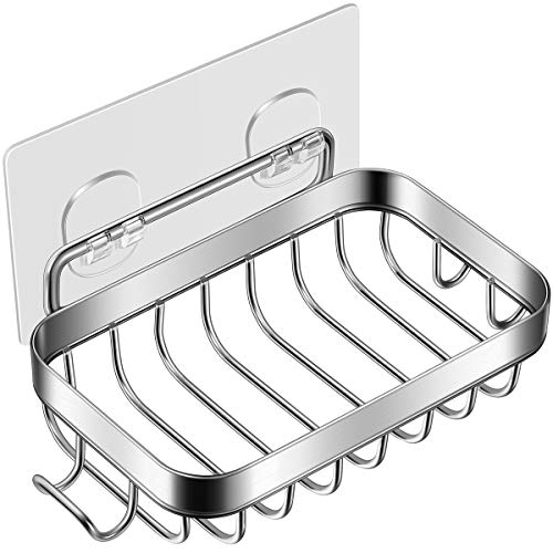Homemaxs Soap Dish, Soap Dish for Shower with Hook, 304 Stainless Steel Wall Mounted Bar Soap Holder for Bathroom Kitchen- Powerful Adhesive No Drilling