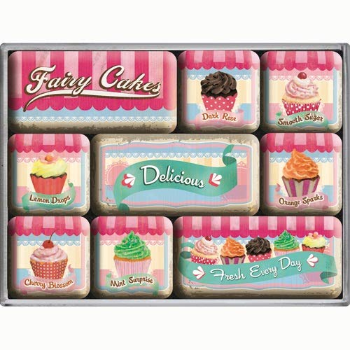 Nostalgic Art Magnet-Set 9-teilig, Magnetset für Magnettafel, Home & Country - Fairy Cakes
