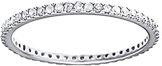 White Natural Diamond Eternity Wedding Band Ring in 10K Solid Gold (0.5 Ct)