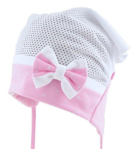 For you Kopftuch Mütze Baby Mädchen Sommer Kopftuch Dreiecktuch (Nur 1 stück, kein Set) Mütze Schirmmütze Stirnband für Mädchen Baby Kinder Baumwolle mit Muster-Punktchen (48/50 L, Weiß/Rosa)