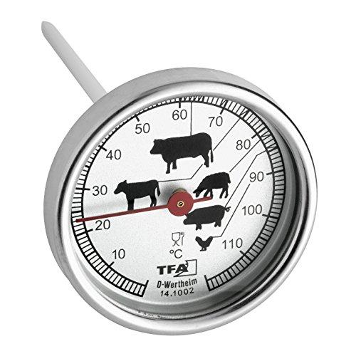 TFA Dostmann Analoges Bratenthermometer, 14.1002.60.90, aus Edelstahl, Fleischthermometer, Backofen/Grill