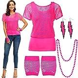 Accessoires de Costume des Années, T-Shirt de Résille Sexy Néon Hors Épaule Tank Gants Boucles d'oreilles pour Fête des Années 80, Rouge Rose, XXL
