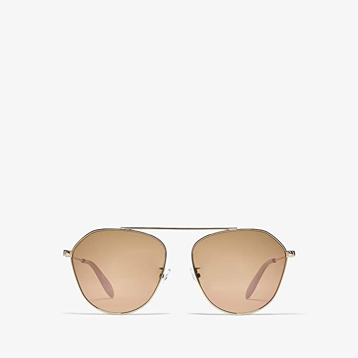 Alexander McQueen  AM0212SA (Shiny Rose Gold/Pink Flash) Fashion Sunglasses