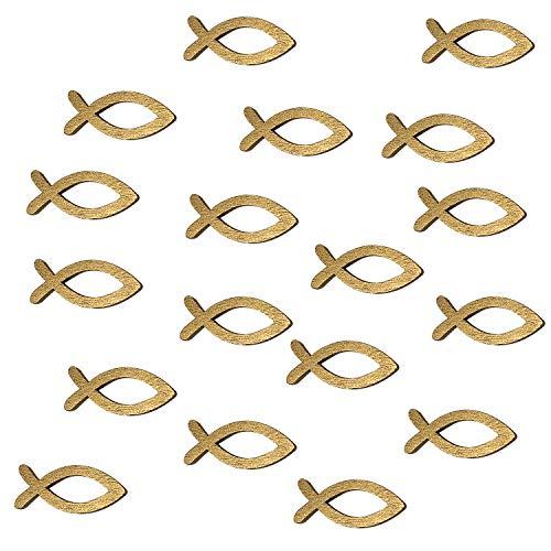 Oblique Unique® 18 Holz Fische Streuartikel für Taufe Kommunion Konfirmation Streudeko Tischdeko Verzierung - Gold