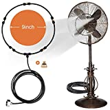 Outdoor Misting Fan Kit for a Cool Patio Breeze,Water Mister Spray for Cooling Outdoor,19.36FT (5.9M) Misting Line + 5 Brass Mist Nozzles + a Brass Adapter(3/4) Fit to Any Outdoor Fan