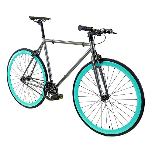 Affordable Golden Cycles Bike with Riser Handle Bar (Aquarius Grey/Turquoise, 45cm-Riser Handlebar)