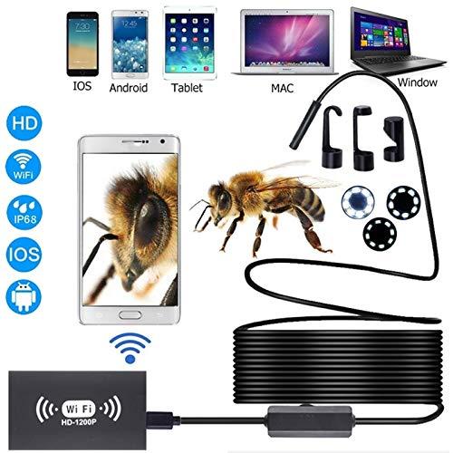 BMZGGIV Portátil WiFi endoscopio cámara de 8 mm HD1200P Impermeable IP67 USB Inspección boroscopio 8LEDs 8mm cápsula endoscópica for Android iPhone PC para inspección de vagones de tuberías