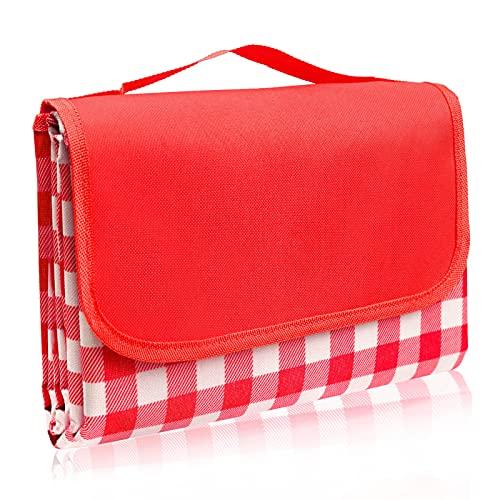 LIVEHITOP Manta de Picnic Impermeable, 200 x 200 CM Alfombra Plegable Ligera Manta de Playa con Asa para Camping Viajes Actividad al Aire Libre (Rojo)