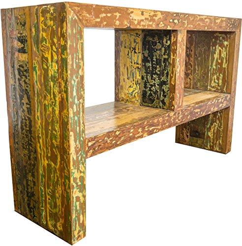 Guru-Shop Kleine Ladekast, Boekenkast, Open Dressoir, TV-tafel, Vintage-look met Ornamenten - Model 13, Geel, 85x130x40 cm, Ladekasten Dressoirs
