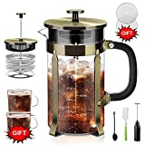 Upgraded French Press Coffee Maker Stainless Steel 34 oz, Coffee Press with Stainless Steel Stand Precise Scale Easy to Clean Durable Heat Resistant Glass Black/Copper/Silver (Bronze, 34 OZ)