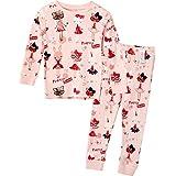 Unifriend 30s 伸縮性のある長袖 女児 キッズ パジャマ オーガニック 綿100% 子供 ルームウェア ねまき 上下セット (プリティラビット-160cm)