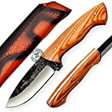 KK799, Olive Wood 1095 High Carbon Steel Handmade Bushcraft Hunting Knife - Full Tang Hunting Knife with Sheath