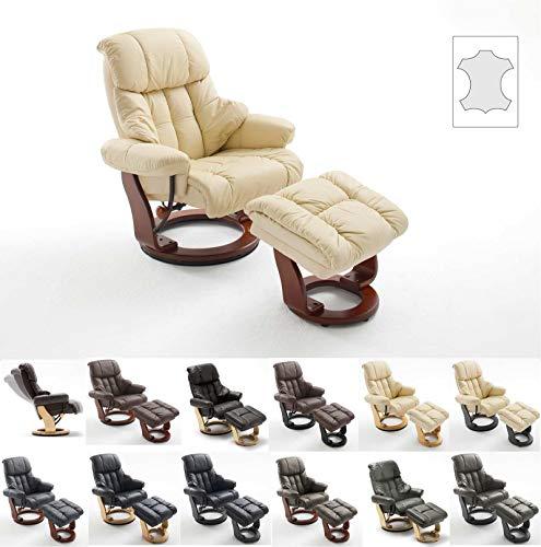 lifestyle4living Relaxsessel in Creme, Echtleder, Gestell 360° drehbar Wallnuss-Braun inkl. gepolstertem Hocker   Perfekter Sessel für entspannte Fernseh-Abende