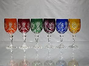 Cristal de Bohemia Tallado–Copas de vino rojo color talla diamante forma cerrado pie Calice cristal de Bohemia–auchoix: cristal vino blanco