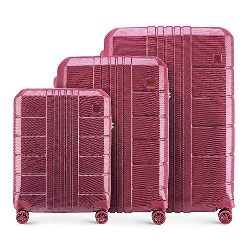 Stabiele koffer met harde schalen koffer 3-delig Lichtgewicht van Wittchen 4 zwenkwielen cijferslot hardshell gewicht 9,7 kg rood