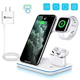 WAITIEE Wireless Charger 3 in 1 Qi-Certified 15W Fast Charging Station for Apple iWatch Series 5/4/3/2/1,AirPods, Compatible with iPhone 11 Series/XS MAX/XR/XS/X/8/8 Plus/Samsung (White)