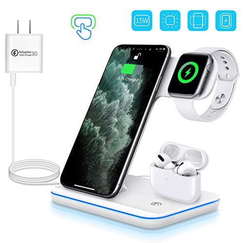 WAITIEE Wireless Charger, 3 in 1 Qi-Certified 15W Fast Charging Station for Apple iWatch Series 5/4/3/2/1,AirPods, Compatible with iPhone 11 Series/XS MAX/XR/XS/X/8/8 Plus/Samsung (White)