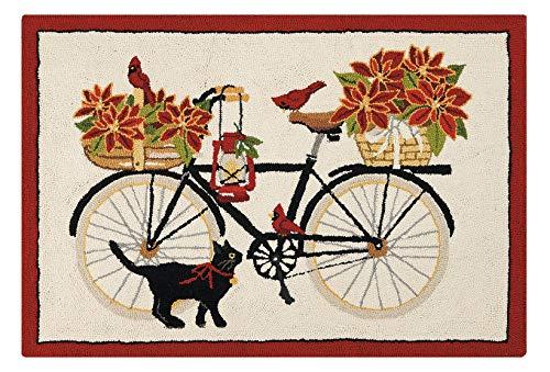 Peking Handicraft 31ML483C40 Poinsettia Bike Holiday Hook Rug, 40-inch Length, Wool