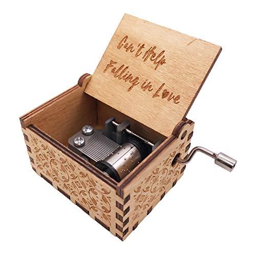 Mini-Spieluhr mit 18 Noten, Handkurbel, aus Holz, für Kinder, holz, braun, Can't Help Falling in Love