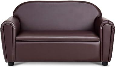 Costzon Kids Sofa, Double Seat Children's Sofa w/Under Seat Storage, Toddler Furniture Armrest Chair for Bedroom, Kids Room,