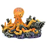 BOBEINI Octopus Treasure Cofre Acuario Peces Paisajismo Decoración Vintage Decorativa Resina Escondite Camarones Cría