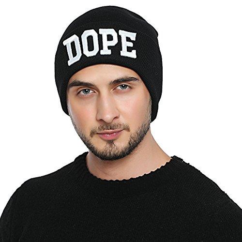 DonDon Herren stylische schwarze Mütze Winter Beanie DOPE 2