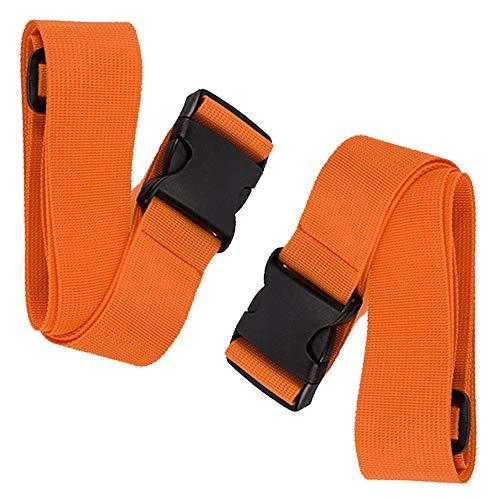 BlueCosto Luggage Straps Suitcase Baggage Carry-on Bag Belt, 2-Pack, Orange