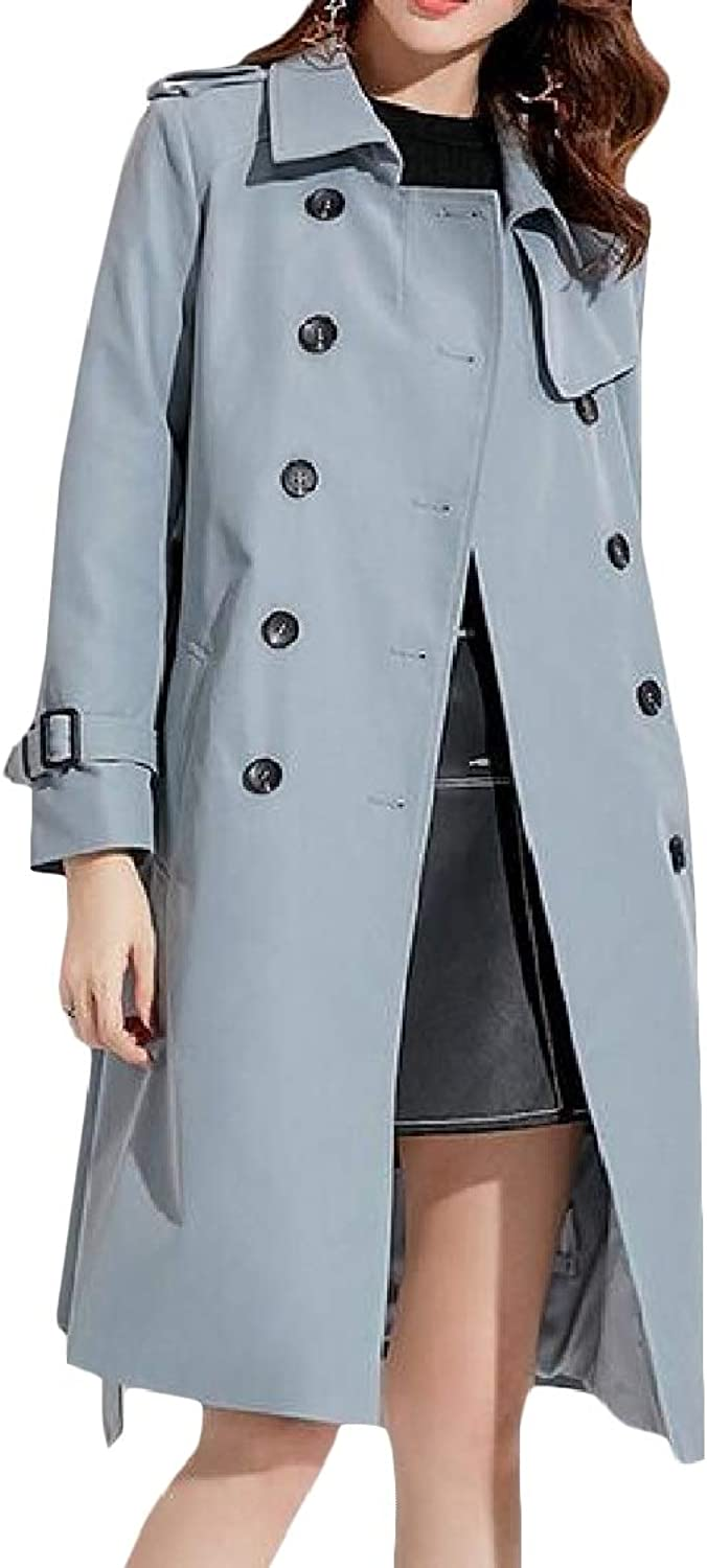 Lutratocro Women Stylish MidLong Belted Lapel Double Breasted Trench Coat