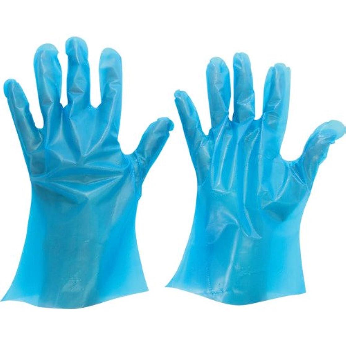 おとなしいクリープベンチミドリ安全 ポリエチレン使い捨て手袋 厚手 外エンボス 200枚入 青 L VERTE566NL