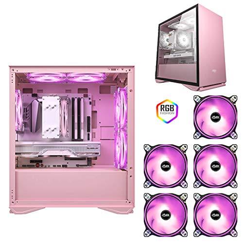 WSNBB Rosa Gaming Pc Gehäuse, Mid-Tower M-ATX/ITX PC-Spiel-Computer-Kasten, Gehärtete Glas Seitenwand, Unterstützt Wasserkühlung, 5 Lüfter Positionen (Color : Pink, Size : 5 Fan)