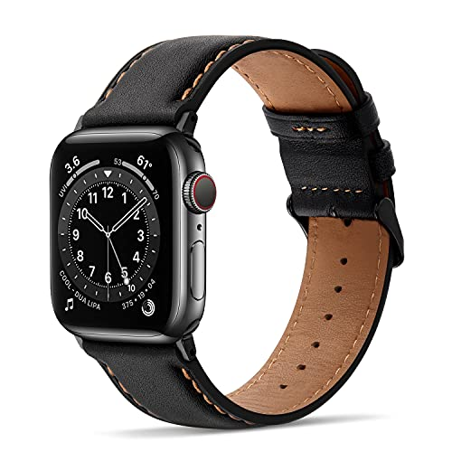 Tasikar Correas para Correa Apple Watch 44mm 42mm Diseño de Cuero Genuino Correa de Repuesto Compatible con Apple Watch SE Series 6 Series 5 Series 4 (44mm) Series 3/2/1 (42mm) - Negro