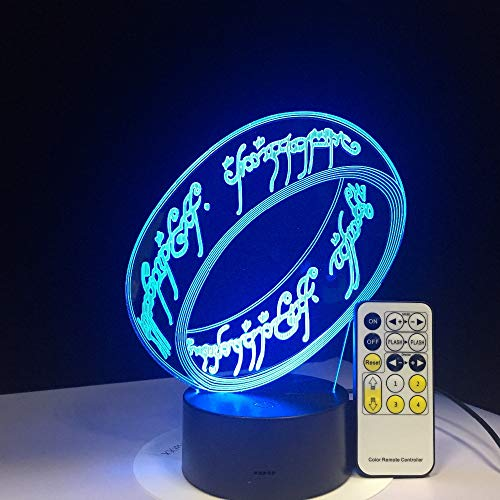 3D led Night Light Finger Ring 7 Color Remote Control Touch Bedroom lamp Home Decoration, Children's Christmas Gift