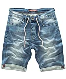 Rock Creek Herren Jogg Shorts Jeansshorts Denim Short Kurze Hose Herrenshorts Sommer Sweatshort Stretch Bermudas Hellblau RC-2200 Used Short W31
