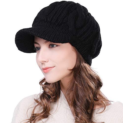 Comhats 100% lana punto visera Beanie invierno sombrero para mujeres Newsboy Cap Baker Boy Hat Fleece/algodón forrado esquí snowboard sombrero