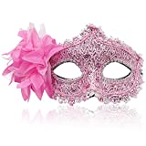 FaceWood Masquerade Mask Mardi Gras Mask for Women Handmade Venetian Party Prom Ball.(Pink)