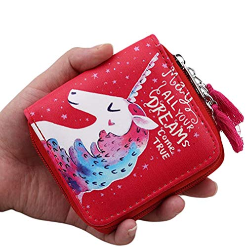 TENDYCOCO Unicorn Coin Purse Durable Cartoon Wallt PU Leather Coin Holder with Zip for Women Female Girls