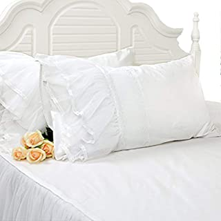 Softta 2Pc Solid White Pillowcase w Lace Patchwork Decorations,Twin Full Queen Size