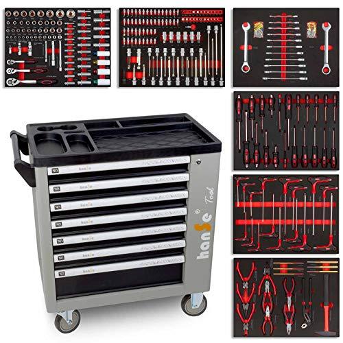 hanSe® Werkstattwagen Profi-Werkzeugwagen Montagewagen Werkzeugkiste mit sieben Schubladen mit 399...
