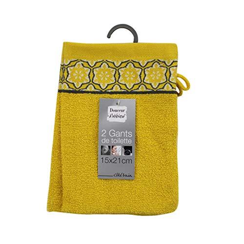 douceur d'intérieur 2 gants de toilette 15x21 cm eponge jacquard adelie miel