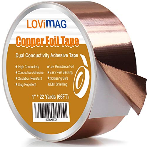 Copper Foil Tape (1inch X 66 FT) with Conductive Adhesive for Guitar and EMI Shielding, Slug Repellent, Crafts, Electrical Repairs, Grounding