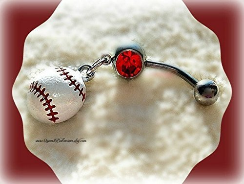 Softball Belly Ring, Baseball Belly Ring, Navel Piercing, Athletic Girl, Belly Button Ring, Beach Wear,Sports Wear,Beach Girl,Handmade by Queen2Bohemian