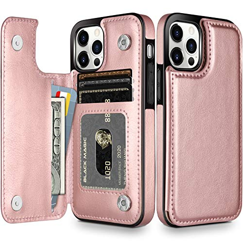 HianDier Wallet Case Compatible with iPhone 12 Pro MAX Case 5G 6.7-inch Slim Protective with Credit Card Slot Holder Flip Folio Soft PU Leather Magnetic Closure Cover, Rose Gold