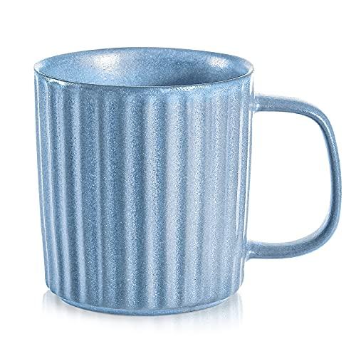 Bonceram Large Ceramic Coffee Mug - 16 oz Stoneware Mug with Handle, Coffee Mug, Ceramic Coffee Cups for Americano, Latte, Cappuccinos, Tea, Hot Chocolate, Dishwasher Microwave Safe Mug, Coralina Blue