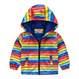 Girls Suncatcher Insulated Spring and Autumn Jacket Outdoor recreation product 18M 24M Color Block Striped(Style 03,100)