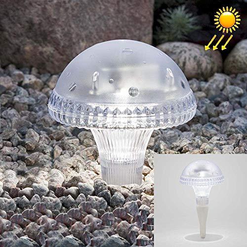 WarmHome Sencillo Lámpara Solar del jardín LED de la Seta Transparente LEH-41587 con el Panel Solar del silicio monocristalino 0.2W Estable (Color : Blanco)