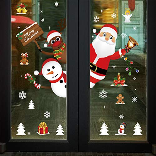 Pegatinas de Pared Copo de Nieve Alce Decoración de Navidad Lindo Santa Claus Ventana Fiesta DIY Pegatinas de Pared Ventana PVC, Reutilizable Pegatinas Electrostáticas para Fiesta